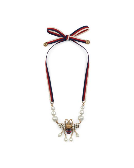 Gucci - Metallic Bee Necklace With Crystals And Pearls - Lyst