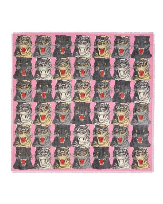Gucci | Pink Tiger Face Print Wool Silk Shawl | Lyst