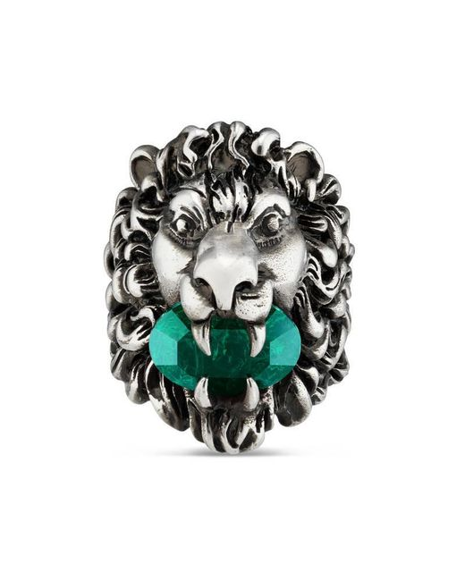 Gucci | Green Lion Head Ring With Crystal | Lyst