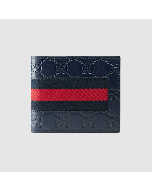 Gucci | Blue Signature Web Wallet for Men | Lyst