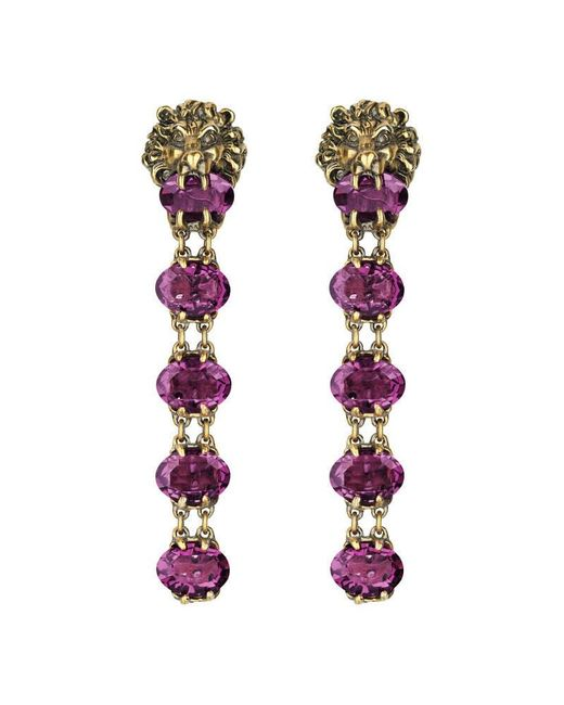 Gucci | Purple Lion Head Earrings With Crystals | Lyst