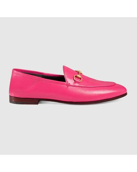 Gucci Brixton Leather Loafers in Pink | Lyst
