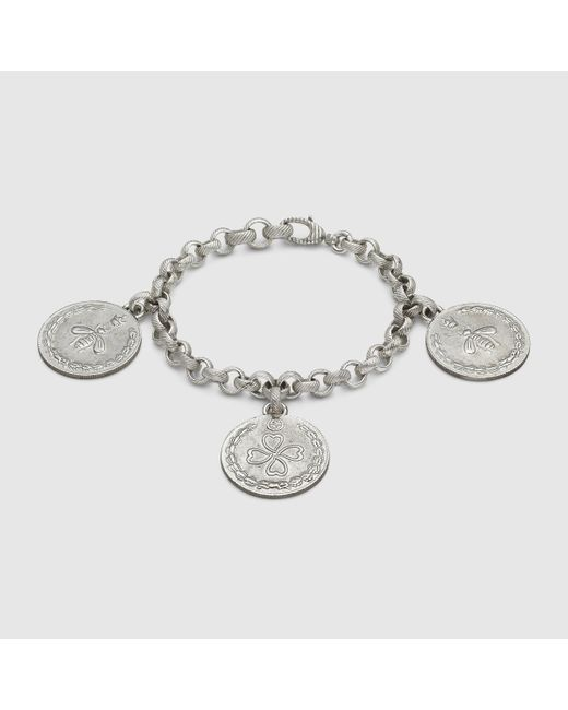 Gucci | Metallic Bracelet In Silver With Coin Charms | Lyst