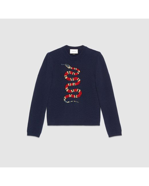 Gucci Snake Jacquard Wool Sweater In Blue For Men Lyst