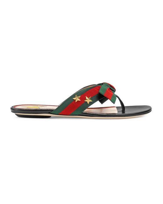 Gucci | Black Studded Grosgrain Web Thong Sandal | Lyst