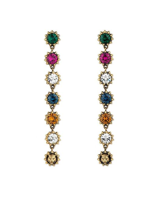 Gucci | Metallic Pendant Earrings With Crystals | Lyst