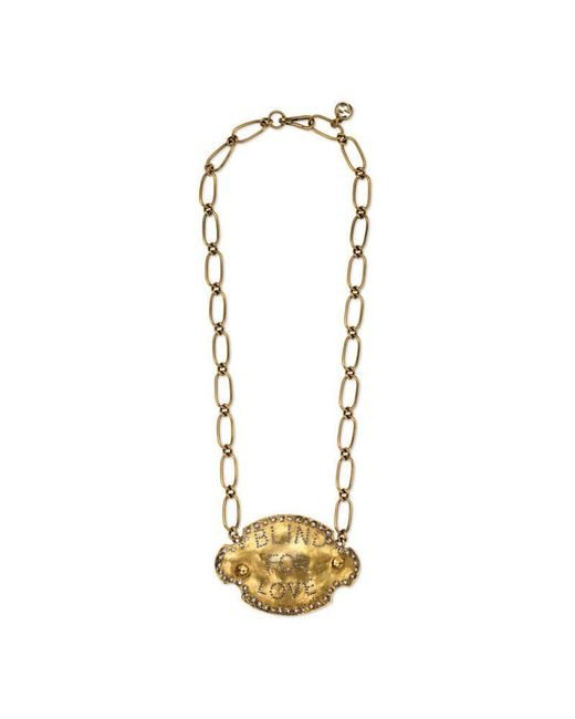"Gucci | Metallic Blind For Love"" Plaque Necklace 