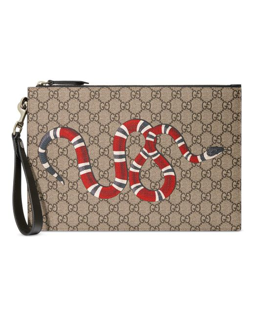 82a6d612bfc Gucci - Natural GG Pouch With Kingsnake for Men - Lyst ...