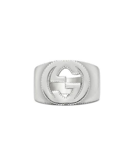 Gucci - Metallic Interlocking G Ring In Silver for Men - Lyst
