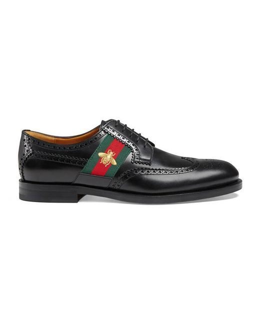 Gucci - Black Leather Lace-up With Bee Web for Men - Lyst