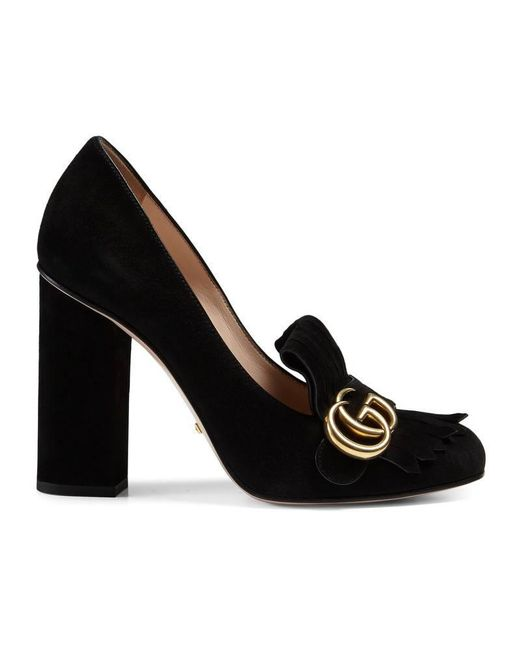 Gucci | Black Marmont Faux Pearl-embellished Fringed Suede Pumps | Lyst