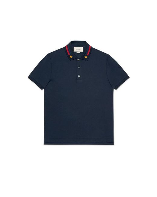 Gucci - Blue Cotton Polo With Web And Bee for Men - Lyst