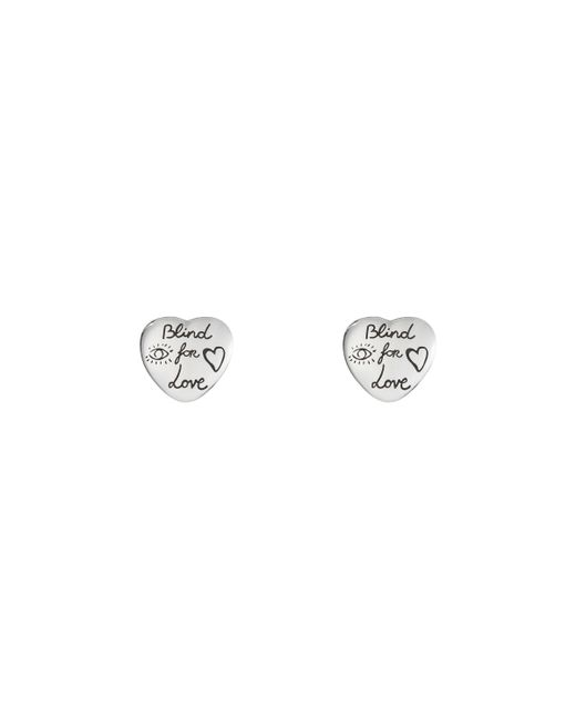 Gucci - Metallic Blind For Love Earrings In Silver - Lyst