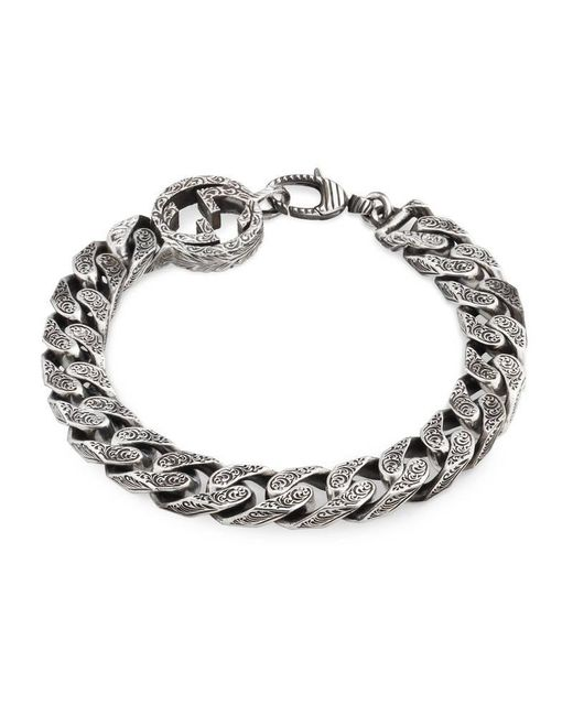 Gucci - Metallic Interlocking G Chain Bracelet In Silver for Men - Lyst