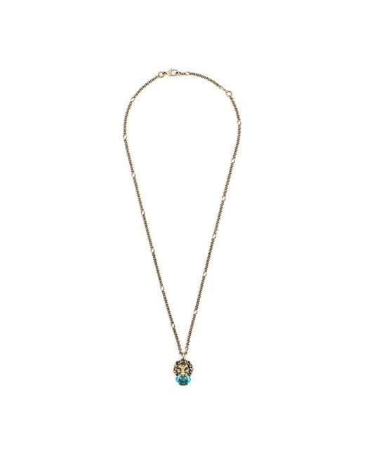 Gucci - Metallic Lion Head Necklace With Crystal - Lyst