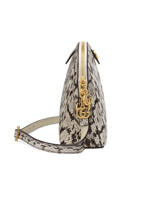 ab2b5e757136db ... Gucci - Gray Ophidia Small Snakeskin Shoulder Bag - Lyst ...