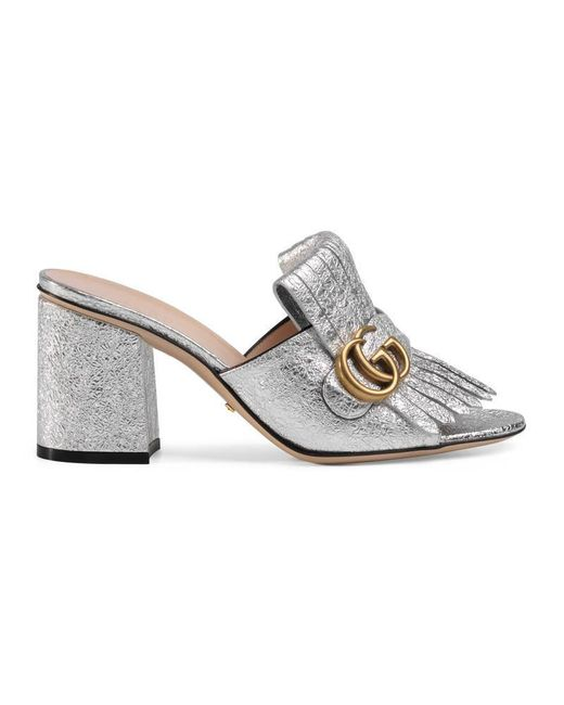 Gucci - Metallic Leather Mid-heel Slide - Lyst