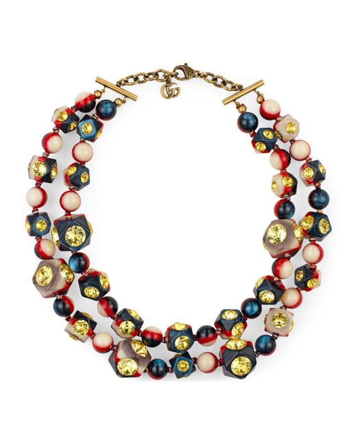 Gucci - Yellow Vintage Web Necklace With Crystals - Lyst