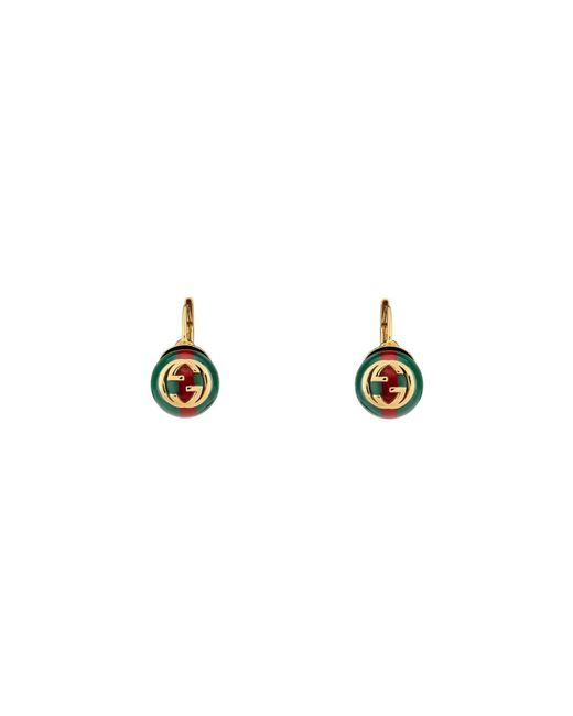 Gucci - Green Web Earrings - Lyst