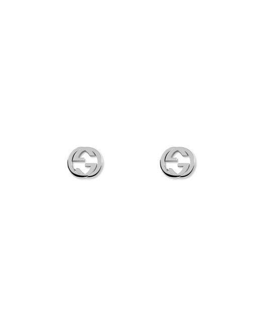 Gucci - Metallic Interlocking Silver Earrings With gg - Lyst