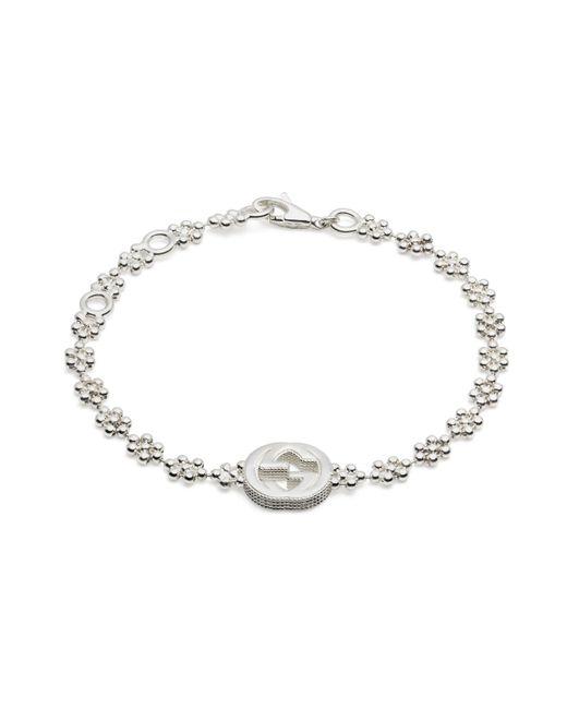 Gucci - Metallic Interlocking G Bracelet In Silver - Lyst