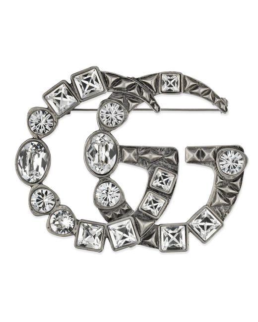 Gucci - White Crystal Double G Brooch - Lyst