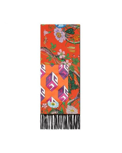Gucci | Red Flora Snake Print Silk Scarf With Pocket | Lyst