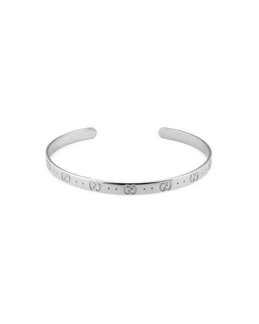 Gucci - Metallic Icon Bracelet In White Gold - Lyst