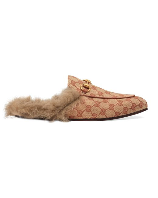 Gucci - Natural Slipper Princetown de Lona con GG for Men - Lyst