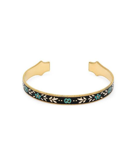 Gucci - Metallic Icon Bracelet In Yellow Gold With Enamel - Lyst