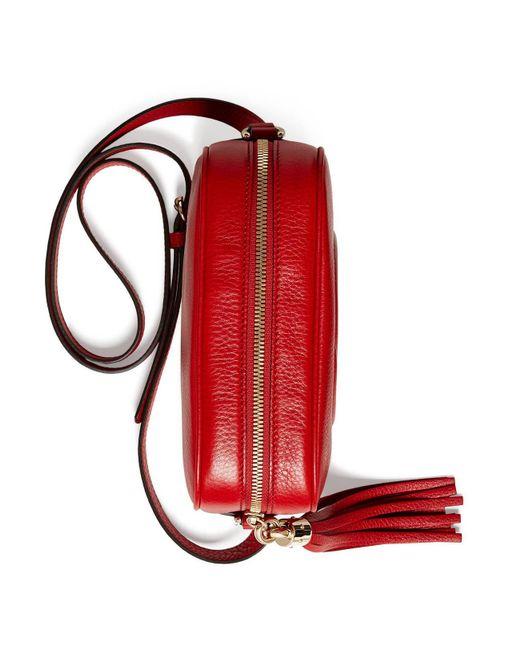f5e582226e5e Lyst - Gucci Soho Small Leather Disco Bag in Red - Save ...