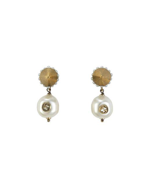 Gucci - Metallic Interlocking G Pearl Pendant Earrings - Lyst