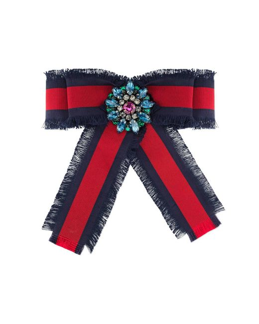 Gucci - Blue Web Grosgrain Bow Brooch - Lyst