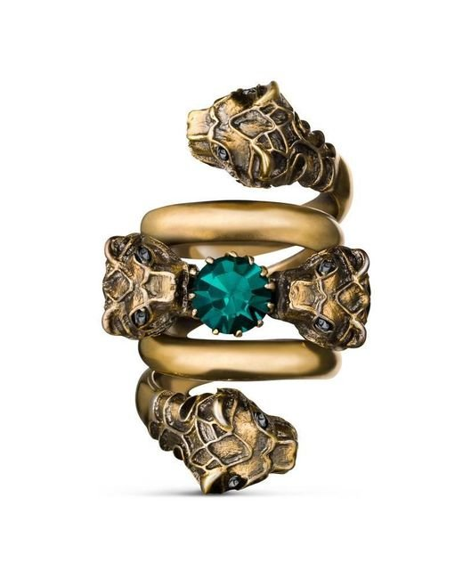 Gucci - Metallic Double Wrap Ring With Tiger Heads - Lyst