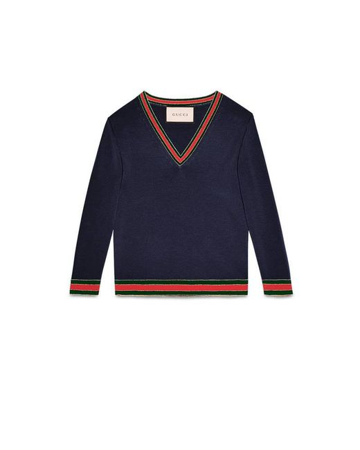 33e9ad67608d6b Lyst - Gucci Merino Wool Knit Top in Blue for Men