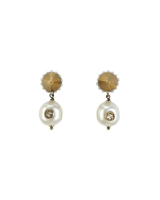 Gucci - Metallic Interlocking G Pearl Pendant Earrings - Lyst