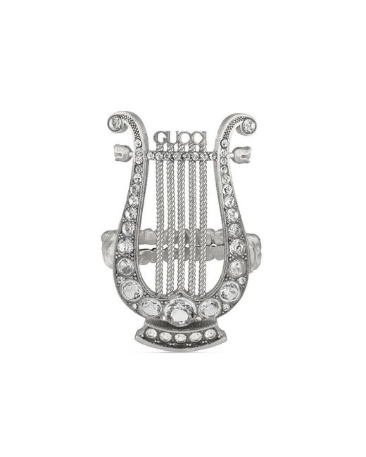 Gucci - Metallic Crystal Lyre Ring In Metal - Lyst