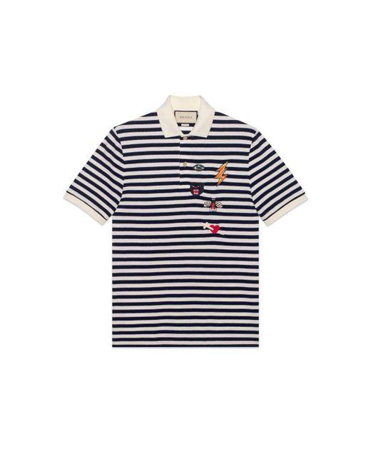 e740e52f1 Gucci - Blue Cotton Polo With Embroideries for Men - Lyst ...
