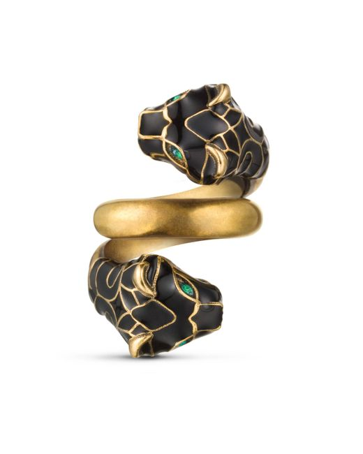 Gucci - Multicolor Tiger Head Ring With Black Enamel - Lyst