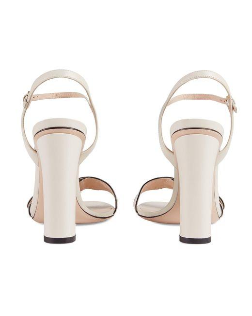 8092df87fda ... Gucci - White Marmont Leather Block-heel Sandals - Lyst ...