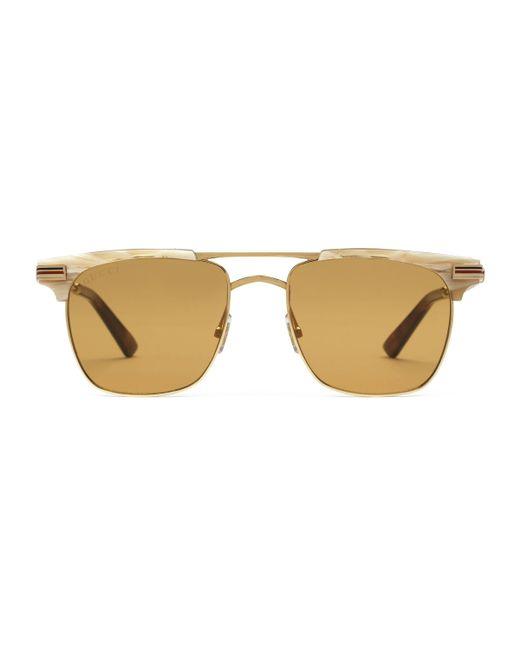 Gucci - Brown Gafas de sol cuadradas de metal for Men - Lyst