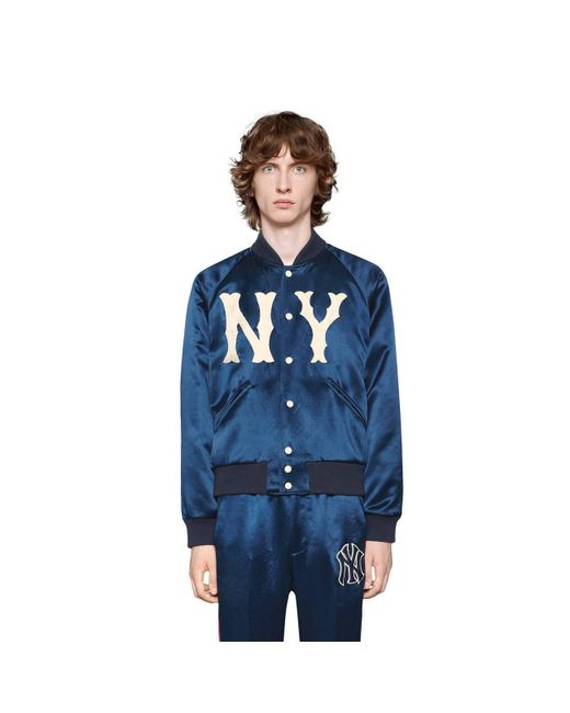f8b1af40969 ... Gucci - Blue Jacket With Ny Yankeestm Patch for Men - Lyst ...