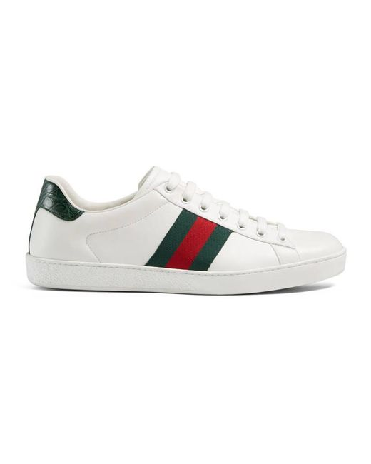 lyst gucci ace leather low top sneaker in white for men. Black Bedroom Furniture Sets. Home Design Ideas