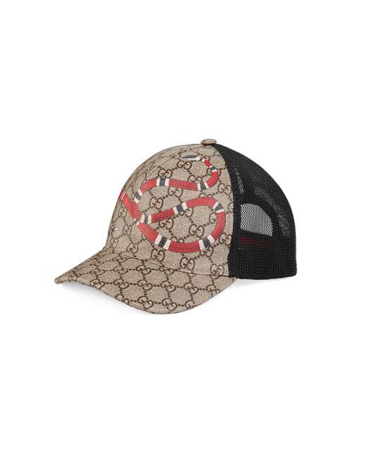 Gucci - Natural Gorra de Béisbol GG Supreme con Estampado de Serpiente Real for Men - Lyst