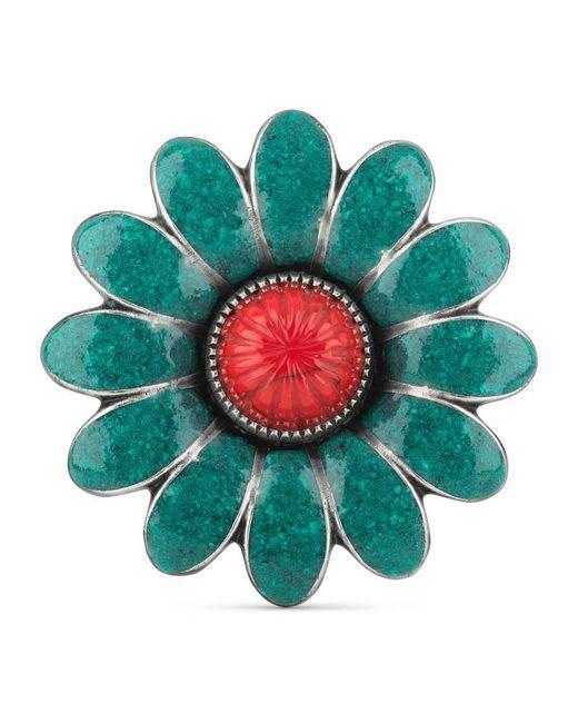 Gucci - Green Enameled Flower Ring - Lyst