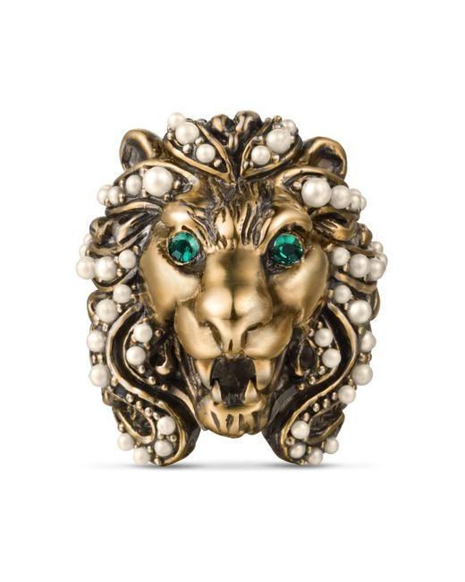 Gucci - Metallic Lion Head Ring With Crystals for Men - Lyst