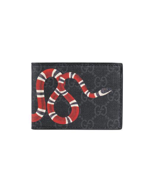 2a55cb71fcc8 Gucci Kingsnake Print GG Supreme Wallet in Black for Men - Save 16 ...