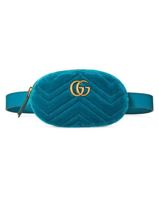Gucci   Blue Gg Marmont Matelassé Velvet Belt Bag   Lyst
