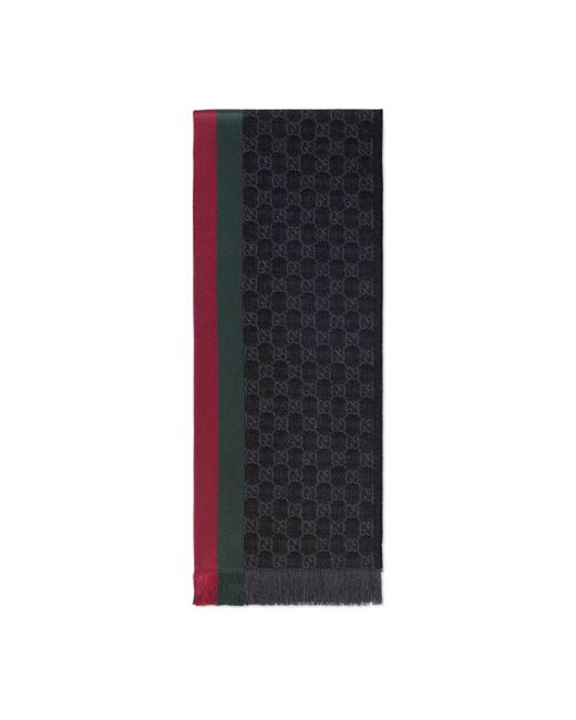 Gucci - Gray Gg Jacquard Knitted Scarf With Web for Men - Lyst
