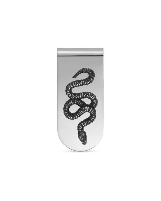 Gucci | Metallic Money Clip With Snake In Silver for Men | Lyst